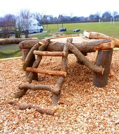 natural playground climbing – good because it's not too high off the ground. Natural Play Spaces, Outdoor Play Spaces, Kids Outdoor Play, Outdoor Learning, Outdoor Fun, Indoor Play, Preschool Playground, Backyard Playground, Playground Ideas