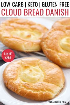 Keto Cloud Bread Cream Cheese Danish Recipe - a low carb danish recipe with just 1 1 gram net carb for easy pastry Perfect for keto brunch or breakfast keto lowcarb lowcarbyum ketorecipes Low Carb Desserts, Low Carb Recipes, Bread Recipes, Budget Recipes, Easy Keto Recipes, Health Desserts, Cream Cheese Danish, Cream Cheese Breakfast, Cream Cheese Bread