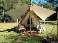 tent with awning