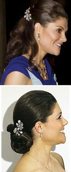 Queen Josefinas diamond, pearl ruby sprey brosch  Photo 1; Crown Princess Victoria at the Nobel second dinner 2010  Photo 2; Crown Princess Victoria at birthday celebrations in denmark 2010