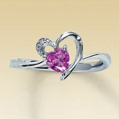 Sterling Silver Diamond & Lab-Created Pink Sapphire Heart Ring : Jewelry Fashion