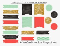 Pretty LIttle Planner Printables: Labels & Stickers to glam up your planners from JonesCreekCreations.blogspot.com #freeprintables #planners