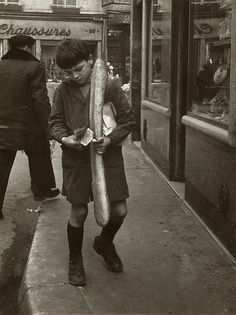 """@megannnrebekah this was the caption from the previous pinner: """"Doisneau, La baguette parisienne."""" BAGUETTE. Made me think of youuuu"""