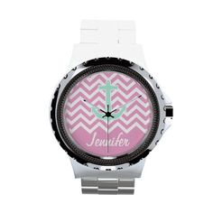 Girly Pink Chevron Teal Anchor Fashion Monogram Wrist Watches #chevron #womens #watches #monogram #custom #personalized #customized #accessories #anchor #cool