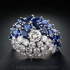 Glamorous Diamond and Sapphire Cocktail Ring - 10-1-5392 - Lang Antiques