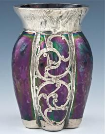 Antique Glass Silver Overlay Iridescent Art Nouveau Plum Vase