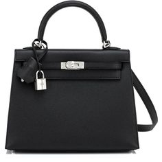 Pre-Owned Hermes Black 25cm Kelly Epsom Sellier Shoulder Bag Palladium... (291.803.320 IDR) ❤ liked on Polyvore featuring bags, handbags, black, hermes handbags, shoulder handbags, real leather purses, leather purses and real leather handbags