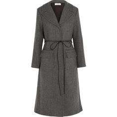 Nina Ricci Belted wool-blend twill coat ($2,575) ❤ liked on Polyvore featuring outerwear, coats, casaco, nina ricci, grey, gray coat, belted coat, nina ricci coat and wool blend coat
