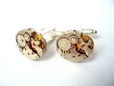 Reloj movimiento gemelos con rubíes  plata  reloj por bitsandbadges