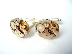 Watch Movement Cufflinks with Rubies silver by bitsandbadges