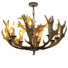 LNC Rustic Resin Deer Horn Antler Chandelier,8 Candle Lights(Bulbs Not Included)