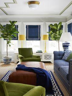 GREEK KEY Trim and Rug... love the Roman shades!!! lonny-may-2015-greek-key-hottest-design-trend-roman-shades-greek-key-rug-bhdm-design-new-jersey-house-neo-traditional-living-room