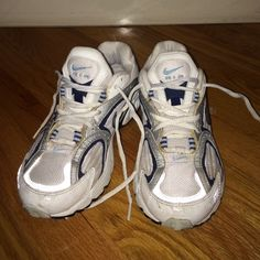 Nike Air sneakers In great condition Nike air sneakers! White with gray and navy .... Size 6.5 Shoes Sneakers