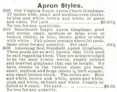 Gingham? Why gingham? – Kristin Holt | Apron styles of gingham offered in the Montgomery Ward & Co. Catalogue, Spring and Summer, 1895.