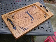 The DIY Lowe's Serving Tray. Click on the picture above to learn how I made this beautiful oak serving tray for my mom and dad's 50th anniversary gift.