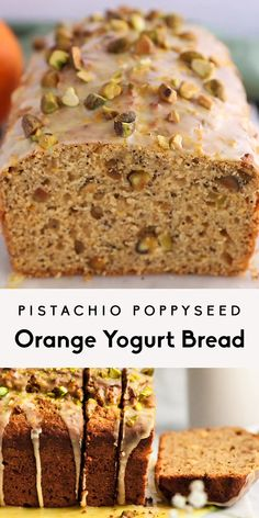 Gorgeous pistachio poppyseed orange yogurt bread naturally sweetened with honey, fresh orange juice, and topped with a perfectly sweet orange glaze. A delicious, healthy yogurt bread for spring! Healthy Bread Recipes, Best Cake Recipes, Baking Recipes, Healthy Snacks, Healthy Breads, Health Recipes, Pistachio Bread, Pistachio Recipes, Orange Recipes
