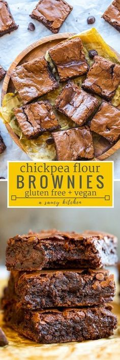 Ooey, gooey fudgy Chickpea Brownies complete with a decadent chocolate centre and the perfect crackly top   #GlutenFree + #Vegan #Brownies #Aquafaba
