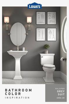 Trending colors like Grey Suit add style to any bathroom on any budget. Bathroom Interior Design, Interior, Grey Interior Paint, Restroom Decor, Small Bathroom Decor, Bathroom Wall Colors, Painting Bathroom, Bathrooms Remodel, Bathroom Decor