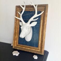 Décoration Brocante création singulière trophée idée chasse innocent tête de cerf en plâtre sur fond de toile de jean cadre en bois et stuc doré
