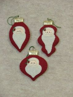 countryside crafts  Glass Ornaments: Santas