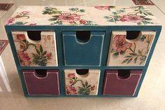 Peacock chest of drawers mini organizer jewelry by GritlyArtDecor