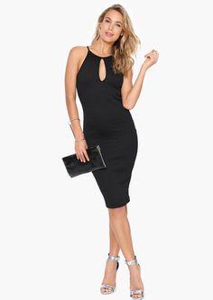 Keyhole Midi Dress in Black | Necessary Clothing
