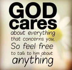 God cares us always.