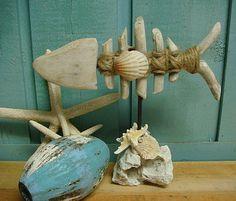 Driftwood Skeleton Fish on Rock Seashell Pedestal Stafish Beach House Decor Sea Crafts, Wood Crafts, Beach House Decor, Beach Condo, Home Decor, Reclaimed Wood Projects, Beach Bungalows, Woman Cave, Display Shelves