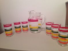 Vintage Striped Pitcher And 6 Tumblers