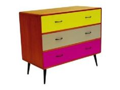 Mid Century Vintage Coloured 3 Drawer Chest