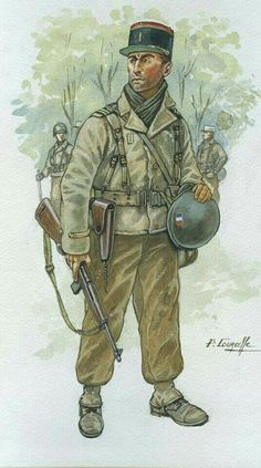 French Foreign Legion officer, Bavaria 1945 - pin by Paolo Marzioli Military Art, Military History, Military Pins, Military Diorama, Ww2 Uniforms, Military Uniforms, French Armed Forces, Military Drawings, French Foreign Legion