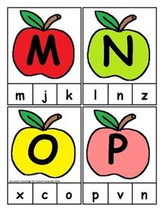 Apple Themed Alphabet Clip Cards are great for alphabet and letter recognition and matching. Alphabet Tracing Worksheets, Alphabet Activities, Preschool Worksheets, Literacy Activities, Activities For Kids, Crafts For Kids, Dil, Apple Theme, Letter Matching