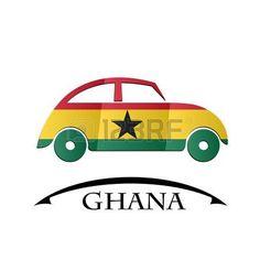 Icono del coche hecho de la bandera de Ghana