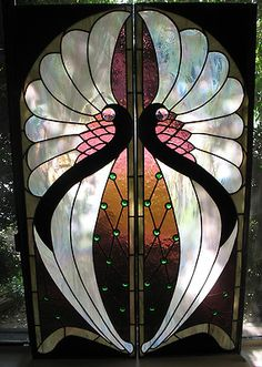 "Two Pane Large Art Nouveau Stained Leaded Glass Window 54 3 4"" x 34 7 8"""