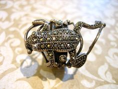 Old Vintage Sterling Silver Large FROG Ring w by charmingellie, $75.00