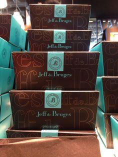 Brown and blue boxes of chocolate at Salon du Chocolat Paris 2013