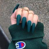 20 Charming Acrylic Nail Designs To Copy - Faded French Nails D . - 20 charming acrylic nail designs to copy – faded French nails DIY – DIY fad - Coffin Nails Matte, Aycrlic Nails, Neon Nails, Stiletto Nails, Matte Nail Art, Dark Nails, Gold Glitter Nails, Oval Nails, Nail Nail