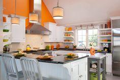 Family friendly orange kitchen