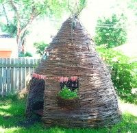 Best Outdoor/Indoor Playhouses that I've seen - hand woven out of willow branches and other natural material