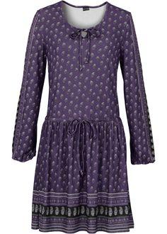 Jurk donkerpaars gedessineerd - BODYFLIRT nu in de onlineshop van bonprix.nl vanaf ? 29.99 bestellen. Charmante jurk in bohostijl van het merk BODYFLIRT met ...