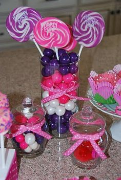 Pink and Purple Candy Display would work for a Diva Party