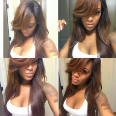 Cheap Glueless Full Lace Human Hair Wigs With Bangs Ombre Brown Virgin Brazilian Hair Full Lace Wigs for Black Women Virgin Indian Hair, Virgin Hair, Love Hair, Gorgeous Hair, Weave Hairstyles, Straight Hairstyles, Curly Hair Styles, Natural Hair Styles, Pelo Afro