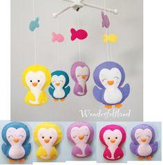 Baby Mobile Crib Baby Mobile Nursery Decor Cute by wonderfeltland Penguin Nursery, Penguin Baby, Baby Penguins, Mobiles, Felt Mobile, Mobile Baby, Punk Baby, Baby Room Themes, Baby Nursery Neutral