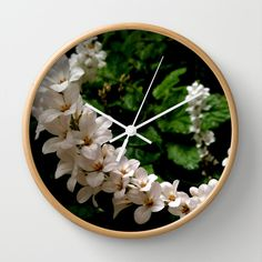 White Blooms Wall Clock
