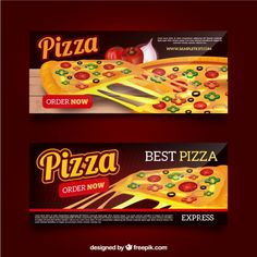 Banners de pizza con queso Vector Gratis