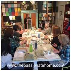 Another great group learning all the possibilities from one can on Chalk Paint during our Basic + MORE Workshop in Langley.