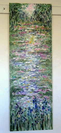 ARTFINDER: Lilly Pad Pond and Wild Iris - Abstr... by Jean Vadal Smith - Bentson - This original oil painting of deep rose , pinks, lavender , deep blues . light aqua . yellow and white with shades of green and a very pale gold-beige wit...