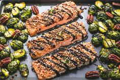 Sheet pan dinners make for easy weeknight meal-prep and clean-up. Prepare simple pecan-crusted salmon fillets and Brussels sprouts and place on a single baking sheet for a full meal that's prepped and cooked in just over 30 minutes. Easy Meal Prep, Easy Weeknight Meals, Easy Dinners, Fish Dishes, Seafood Dishes, Main Dishes, New Cooking, Cooking Recipes, Easy Cooking