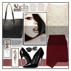 """""""SHEIN"""" by syoungju ❤ liked on Polyvore featuring Yves Saint Laurent, Dolce&Gabbana, women's clothing, women, female, woman, misses and juniors"""