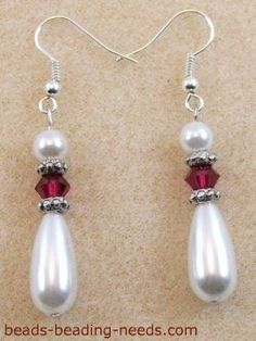 Ruby Earrings These teardrop pearl earrings are beautiful, along with the jewelry making instructions they are basic beading for beginners. Teardrop Pearl Earrings, Ruby Earrings, Bead Earrings, Silver Earrings, Silver Ring, Wedding Earrings, Crystal Earrings, Wire Jewelry, Beaded Jewelry